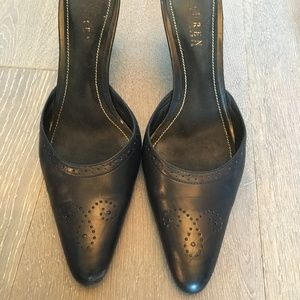 Black leather mules with heel